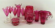 A quantity of cranberry glass, late 19th century,