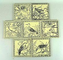 A set of Minton & Hollins pottery tiles late 19th