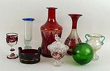 A quantity of glassware including a Bohemian ruby