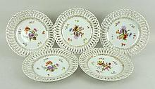 A set of Dresden style porcelain ribbon plates,