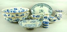 A quantity of blue and white pottery including a