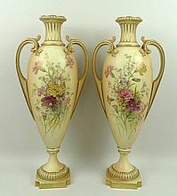 A pair of Royal Worcester blush porcelain vases,