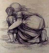 A black chalk drawing of mother and child, monogra