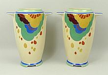 A pair of Art Deco Royal Doulton pottery vases of