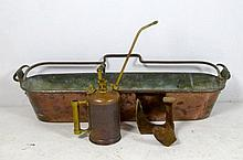 A large copper roasting pan, 103 by 26 by 24 cm hi