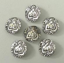 A set of six Art Nouveau silver buttons, Birmingha