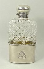 A Victorian silver mounted hobnail glass hip flask
