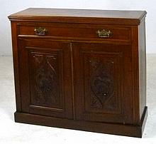 A mahogany cupboard with a single drawer above two
