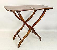 A George III mahogany coaching table, the folding