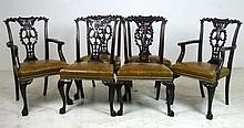 A set of six Chinese Chippendale style mahogany di