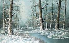 Carl Madden (American 20th century): a winter forest scene