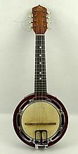 An Edwardian banjo mandolin EMC, made in England, with marquetry inlay, wit