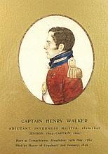 English School (19th century): a half length portrait miniature in profile of 'Captain Henry Walker'