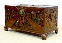 A modern Chinese camphor wood carved blanket chest