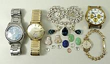 A group of watches and costume jewellery