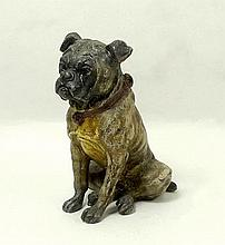 A modern cold painted bronze figure of a pug