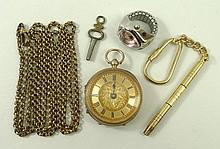 A lady's 9ct gold cased pocket watch