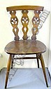 Four Ercol type dining chairs, a bamboo magazine rack and a tile topped cane table (6)