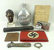 A quantity of militaria, comprising; W. Zoll: a bronze bust of Adolf Hitler, raised on a perspex bas