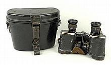A pair of German WWII Carl Zeiss binoculars, 6x30, serial number 1924004, metal cased.
