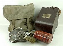 A quantity of WWII militaria, including a gas mask, kit bags, an Air Ministry bubble sextant, MX1A a