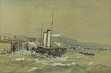 English School (19th century): Paddle steamers in a choppy harbour, watercolour and bodycolour, 21 b