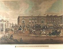 James Pollard (1797-1867): 'The Elephant and Castle on the Brighton Road', hand coloured 19th centur