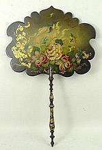 A papier mache candle screen, early 19th century, painted with a humming bird and flowers, gilt high