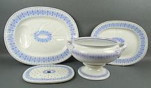 A Wedgwood pottery meat drainer and two meat plates, late 19th century, decorated in the 'Turin' pat