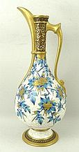 A Royal Worcester porcelain ewer, circa 1874, of baluster form decorated in the aesthetic style with