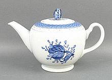 A Royal Copenhagen Faience part tea and coffee service decorated in blue and white with flowers, com