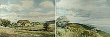 John H Williams (British, 20th century): Downland Farm, Eastbourne from Beachy Head, a pair of water