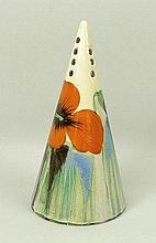 A Clarice Cliff Bizarre conical sugar shaker painted in the 'Delicia Poppy' pattern, printed mark, 1