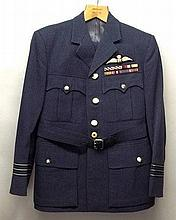 An RAF Wing Commander's service dress uniform, with ribbon bars including the AFC and DFC and bar, b