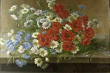 Raoul Maucherat de Longpre (French, 1843-1911): Still life of poppies, cornflowers and daisies on a