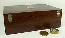 A Victorian mahogany military box with brass inlaid plaque engraved with the motto of the Royal Huma