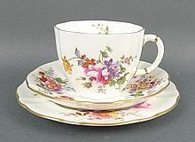 A Royal Crown Derby porcelain part tea service decorated in the 'Derby Posies', comprising; twenty f