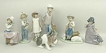 A Lladro porcelain figure of a puppy and six Nao figures comprising a shepherd, girl with parasol, s