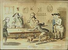 Henry William Bunbury (British 1750-1811): a caricature titled 'Billiards', hand coloured engraving,