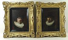 After Lajos Kolozsvary (Hungarian, 1871-1937): a pair of 17th century style male portraits wearing r