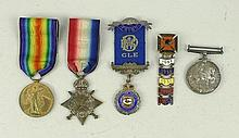 A WWI British trio of medals comprising 1914-15 Star, War and Victory medals to GNR RT Bourne, RA no