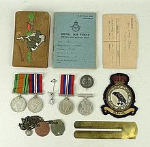A quantity of militaria comprising two leather RAF identification tags for CE GOTT no. 1442937, an R