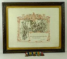 A WWI trio of medals, 1914-15 Star, War and Victory medals, The Defence and Long Service medal, all