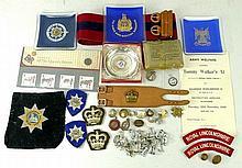 A quantity of militaria including cap badges, buttons, three Scottish Regiment ashtrays, Royal Scots