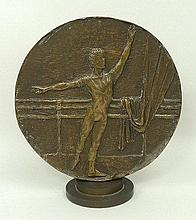 A 20th century bronze roundel depicting Antony Dowell, and Antoinette Sibley, ballet dancers, Morris