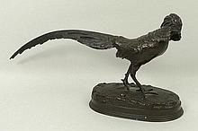 Germaine Demay (French, 1819-1886); a bronze figure of a cock pheasant, on a naturalistic oval base,