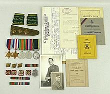 A group of medals, war diaries and associated WWII memorabilia relating to Captain James Alexander,