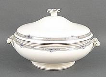 A Wedgwood porcelain dinner service decorated in the 'Amherst' pattern, comprising; oval meat platte