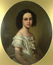 English School (early 19th century): half length portrait of a young lady in a white dress, oil on c