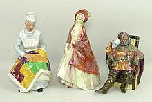 A group of Royal Doulton figures, comprising; The Paisley Shawl, HN1392, The Foaming Quart, HN2162,
